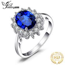 <b>JewelryPalace Created Blue Sapphire</b> Ring Princess Crown Halo ...