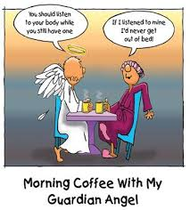 funny  coffee time and cartoon on pinterestmy guardian angel has the worst job in the world