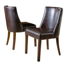 transitional dining chair sch: gdfstudio rydel dining chairs set of  brown leather dining chairs