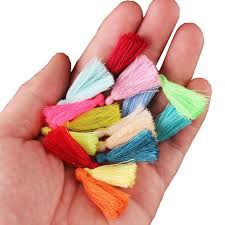 100PC 3CM Mini Cotton Thread <b>Fabric Tassel DIY</b> Pendant Jewelry ...