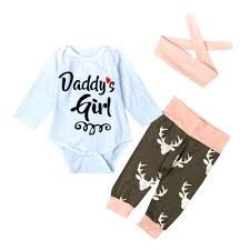 3Pcs Kid Newborn Baby Girl Long Sleeve letter Cotton Romper+ ...