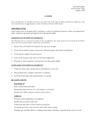cashier resume description template cashier resume description