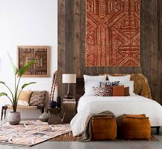 south african decor: elegant african bedroom design white springbed browny carpet motif  cube chairs wooden wallbuying quality african