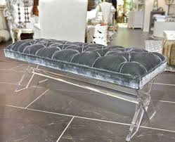 lucite and gray velvet x bench is a striking piece with soft tufted grey velvet on acrylic furniture lucite