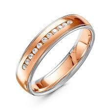 Комбинированное обручальное <b>кольцо 11 бриллиантов</b> артикул ...