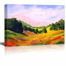 <b>Beautiful Scenery Landscape</b> of Spring Valley in Oil Painting Style ...