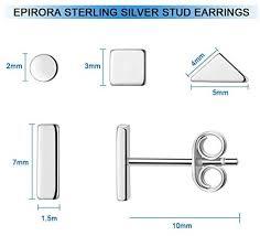 Sterling <b>Silver</b> Stud Earrings for Women <b>Men</b>- 4 Pairs of ...