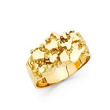 ZenJewels <b>Solid 14k Yellow Gold</b> Nugget Ring Mens Band Chunky ...