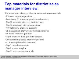 District sales manager interview questions and answers