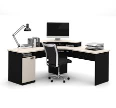 home office corner workstation desk amazoncom bestar hampton corner workstation in sand granite amp charcoal kitchen chic corner office desk