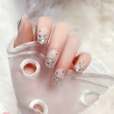<b>24pcs</b>/box full cover Short fake nails press on Flash Rhinestone ...