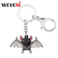 WEVENI Acrylic <b>Halloween</b> Cartoon <b>Bat</b> Key <b>Chains</b> Pendant <b>Ring</b> ...
