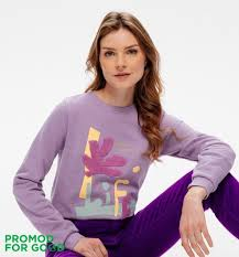 Slogan sweatshirt - <b>Light violet</b> print - Women - Sweatshirts - Promod