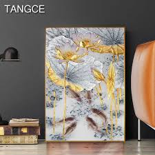 Abstract <b>Gold Lotus Canvas</b> Painting <b>Golden</b> Foil Poster Print New ...