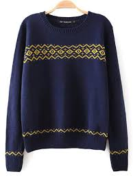 women <b>vintage geometry round</b> neck knitting pullover sweater at ...