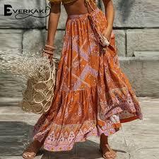 <b>Everkaki Long Skirts</b> Women Floral Print Boho Tassels Sashes ...