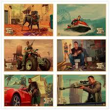 Grand Theft Auto V retro kraft paper Print <b>vintage</b> Poster <b>Game</b> Hot ...