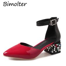 <b>Bimolter</b> 9 High Square Heel Women Ankle Boots Sweet Pink Black ...