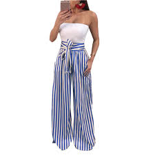 Купить Striped Self Tie Waist wide leg casual <b>palazzo</b> women's ...