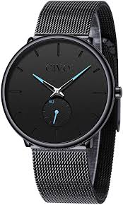 CIVO <b>Mens</b> Black Ultra Thin <b>Watch</b> Minimalist <b>Fashion</b> Waterproof ...
