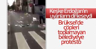 Brüksel'de çöpleri toplamayan belediyeye protesto