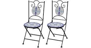 Folding <b>Bistro Chairs 2 pcs</b> Ceramic Blue and White - Matt Blatt