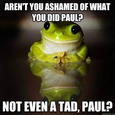 aren't you ashamed of what you did Paul? Not even a tad, Paul ... via Relatably.com
