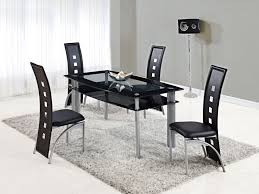 black kitchen dining sets:  sophisticated black kitchen chairs around acrylic dining table plus gray fur rug