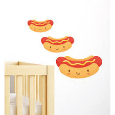 Happy <b>Hot Dog</b> Set Of 3 <b>Wall Decal</b> | Temple & Webster
