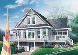 House plan W detail from DrummondHousePlans comRear view   BASE MODEL Panoramic chalet   large terrace  screened porch  fireplace in