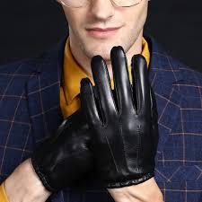 Мягкие натуральные кожаные зимние мужские <b>перчатки</b> с ...