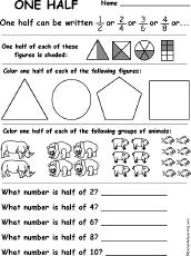 Fractions - EnchantedLearning.comone half. One Half: A Fraction Worksheet