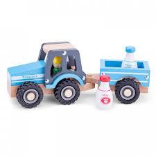 <b>Деревянная игрушка New</b> Cassic Toys Трактор с прицепом ...