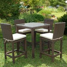 wicker bar height dining table: atlantic monza square bar height all weather wicker dining set seats  the monza square bar height all weather wicker dining set seats  brings subtle