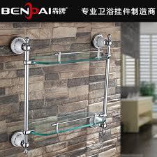 bathroom tempered glass shelf: solid bathroom glass shelves with tempered glass chrome finished double glass shelf bathroom shelf toilet accessories