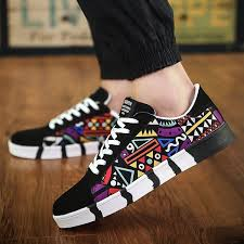 YZ <b>Men Fashion Casual</b> Sneakers Print Graffiti Canvas <b>Flats</b> Shoes ...