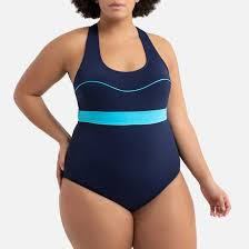 <b>Купальник цельный</b> утягивающий для занятий в бассейне синий ...