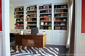 home office with new built in bookcases built home office