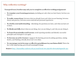 PREPARED BY REBECCA SHAW  WRITING COACH  UNIVERSITY OF BRITISH     SlidePlayer Reflective writing assignments may include  Journal or diary entries Portfolios Narratives Reflections on practice or