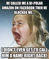 he called me a bi-polar amazon on facebook then he blocked me ... via Relatably.com