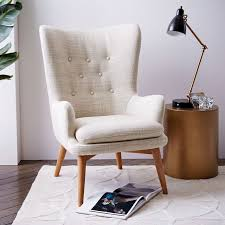 inspired by streamlined danish style the niels wing chairs curved lines are a modern take astonishing home stores west elm