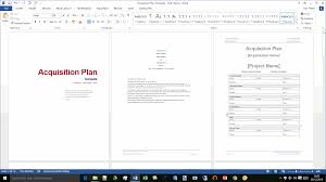 acquisition plan template ms word excel the cover page of the acquisition plan template red theme