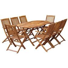 <b>9 Piece Folding Outdoor</b> Dining Set Solid Acacia Wood -
