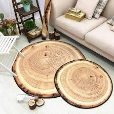 6mm <b>3D</b> Mat New <b>Nordic</b> Style Circular Carpet <b>Wood Grain</b> Rings ...
