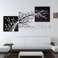 <b>3Pcs</b> Black And <b>White</b> Tree Picture Paint Canvas <b>Painting Modern</b> ...