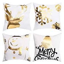 BLEUM CADE Christmas Bronzing Pillow Cover Elk ... - Amazon.com