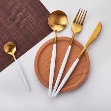 <b>Hot Sale 4 Pcs</b>/set White Gold european knife Dinnerware 304 ...