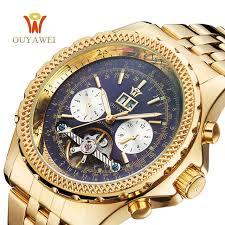 <b>OUYAWEI Men</b> Mechanical Luxury Brand Automatic Gold <b>Tourbillon</b> ...