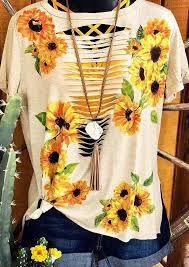 Sunflower <b>Hollow Out T-Shirt</b> Tee - Flesh - Fairyseason