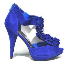 Qupid Royal Blue Velvet <b>Sexy Womens High Heel</b> Slingback Sandals